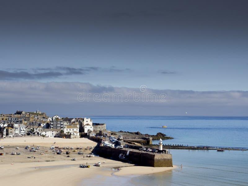St Ives Smeaton Pijler en strand royalty-vrije stock foto