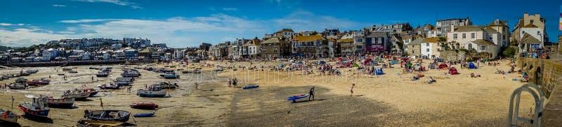 St Ives strandpanorama royalty-vrije stock foto