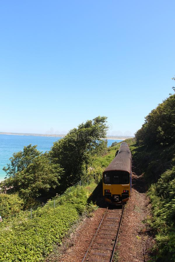 St Ives Train Cornwall Britain seaside stock photo