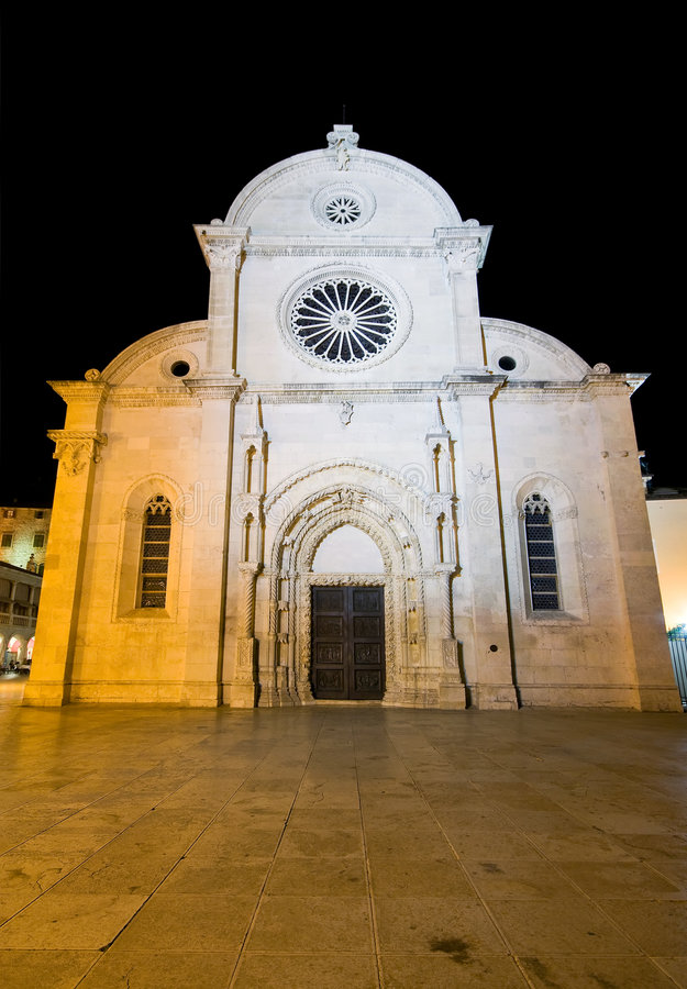 St. Jacob's Cathedral in Sibenik. Night view of St. Jacob's Cathedral in Sibenik, Croatia - part of UNESCO world heritage stock photos