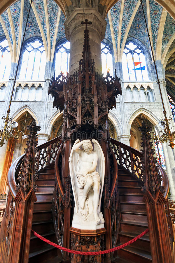 St. Paul's Pulpit. Beautiful view of the preacher's pulpit in the St-Paul's Cathedral (Liege Cathedral) in Liege, Belgium stock image