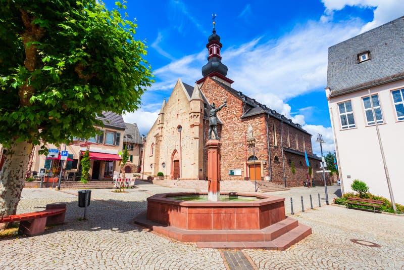 St Jakobus天主教会,Rudesheim 库存照片