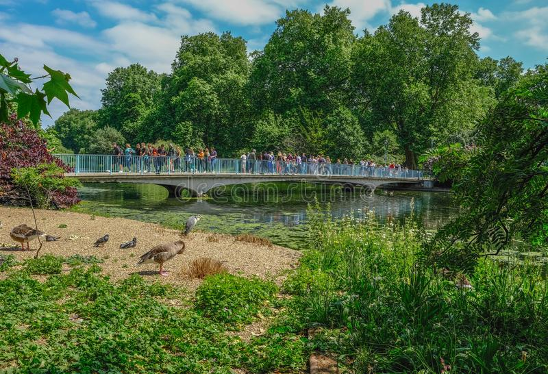 Tourists crossing the blue bridge over the lake in St. Jame`s Pa royalty free stock photos