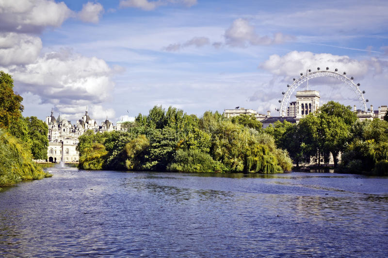 St. James Park. Lake with Horse Guards and London Eye in the background stock photo