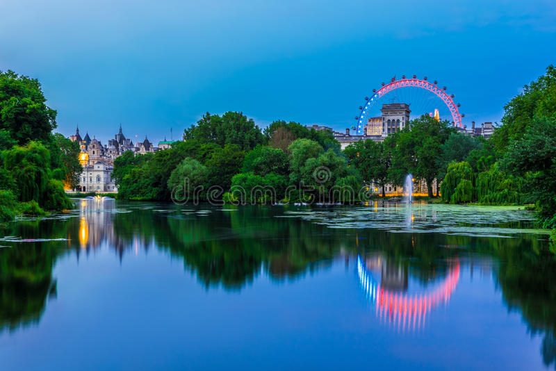 St. James Park in London. At Night stock photos