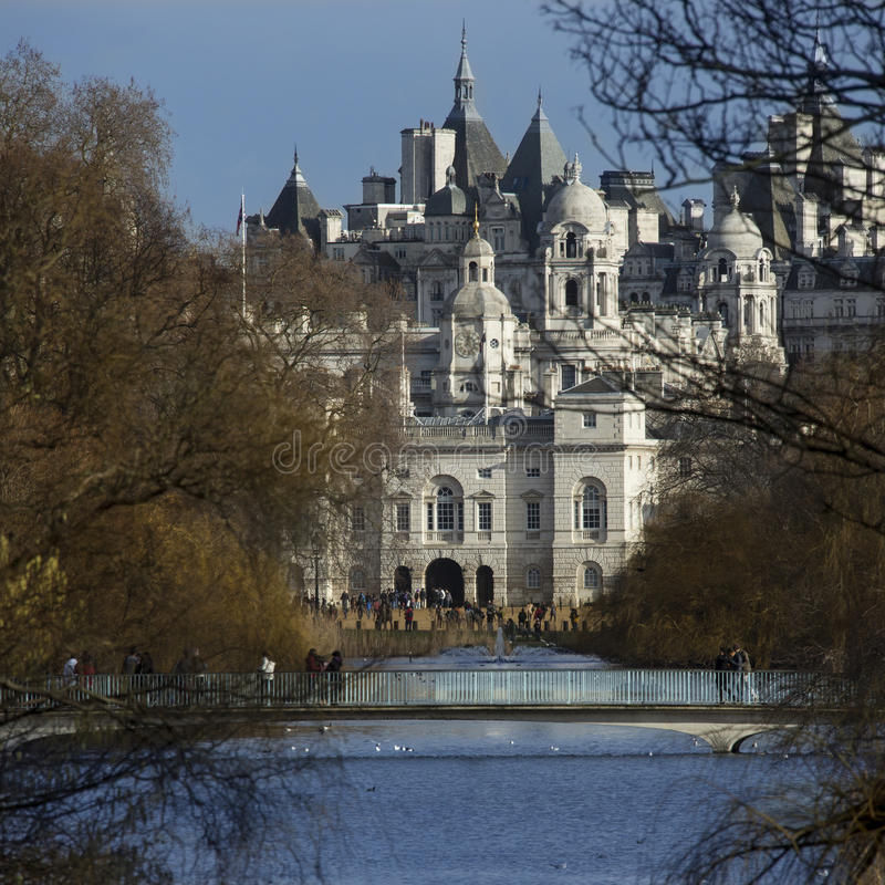 St James's Park and Horse Guards Parade - London England stock images