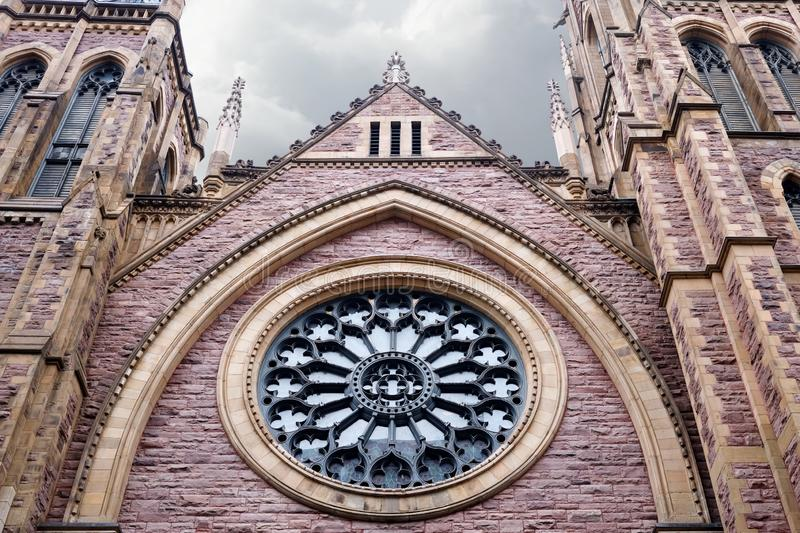 St. James United protestant church in Montreal, Canada. St. James United protestant church designed as gothic revival architecture in Montreal, Quebec, Canada stock images