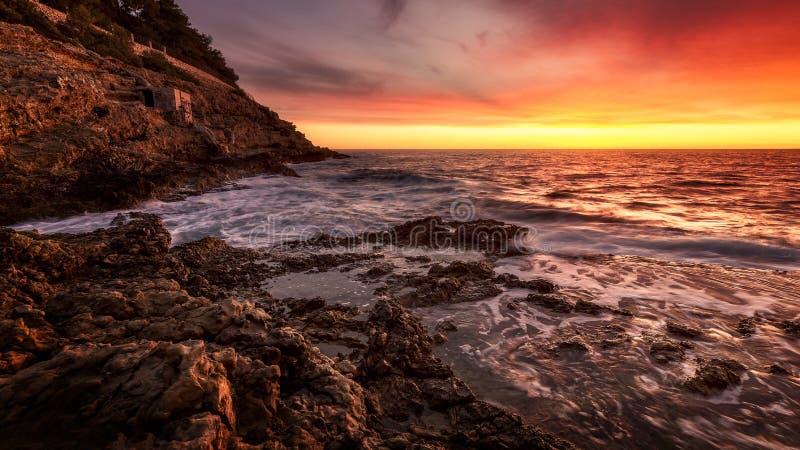 St jean cap ferrat sunrise lever de soleil royalty free stock photography