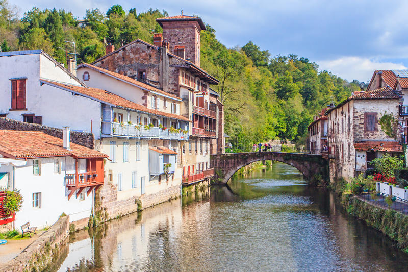St Jean Pied De Przesyłający, Francja fotografia stock