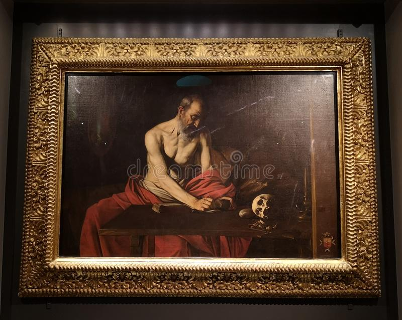 St Jerome writing by Michelangelo Caravaggio in. st John Co Cathedral, Malta. Valletta royalty free stock image
