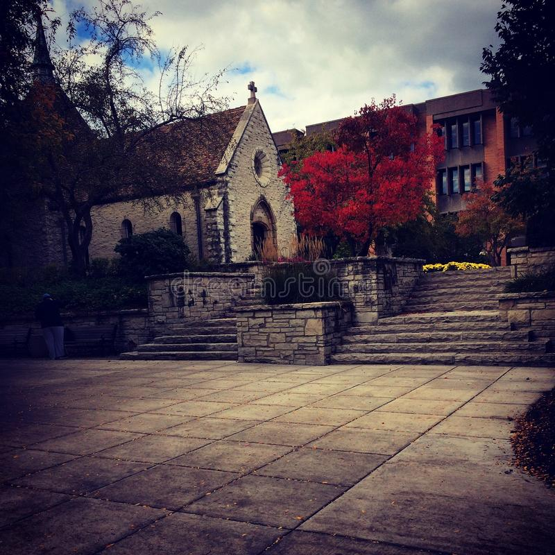 St. Joan of Arc Chapel. Marquette University Fall Milwaukee Wisconsin Red Vivid Stone Symmetry royalty free stock photos