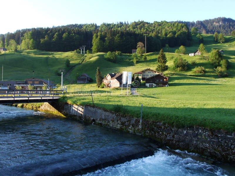 St Johann Alt в регионе Toggenburg и в Thur River Valley стоковая фотография rf