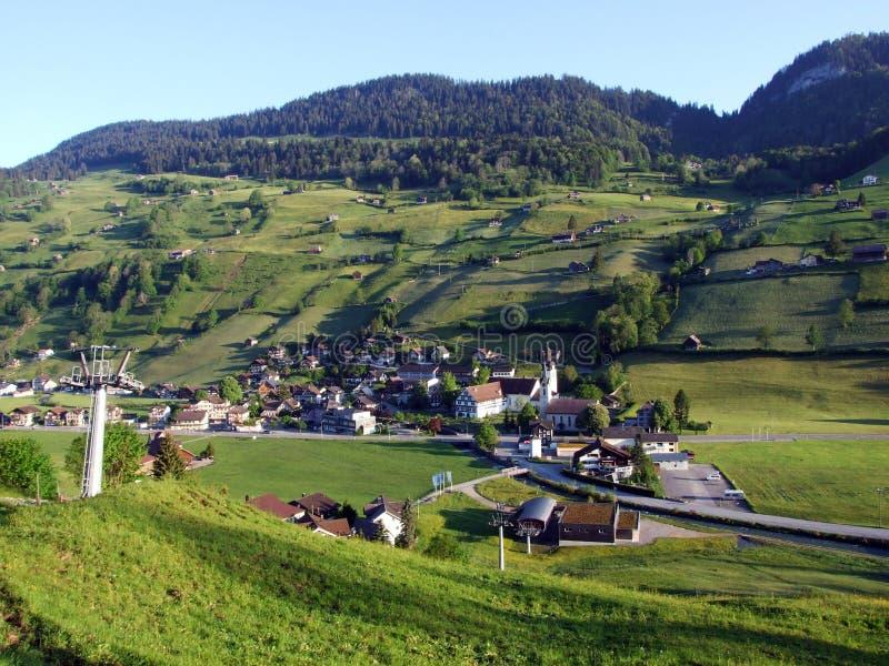 St Johann Alt в регионе Toggenburg и в Thur River Valley стоковые изображения