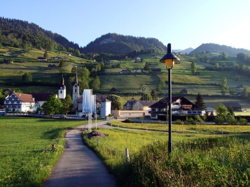 St Johann Alt в регионе Toggenburg и в Thur River Valley стоковое изображение rf