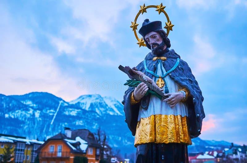 St Johannes Nepomuk i dåliga Ischl, Salzkammergut, Österrike royaltyfri bild