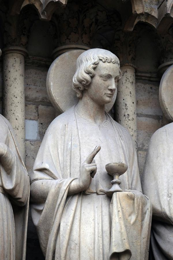 St. John, портал последнего суждения, собор Нотр-Дам, Париж стоковые изображения