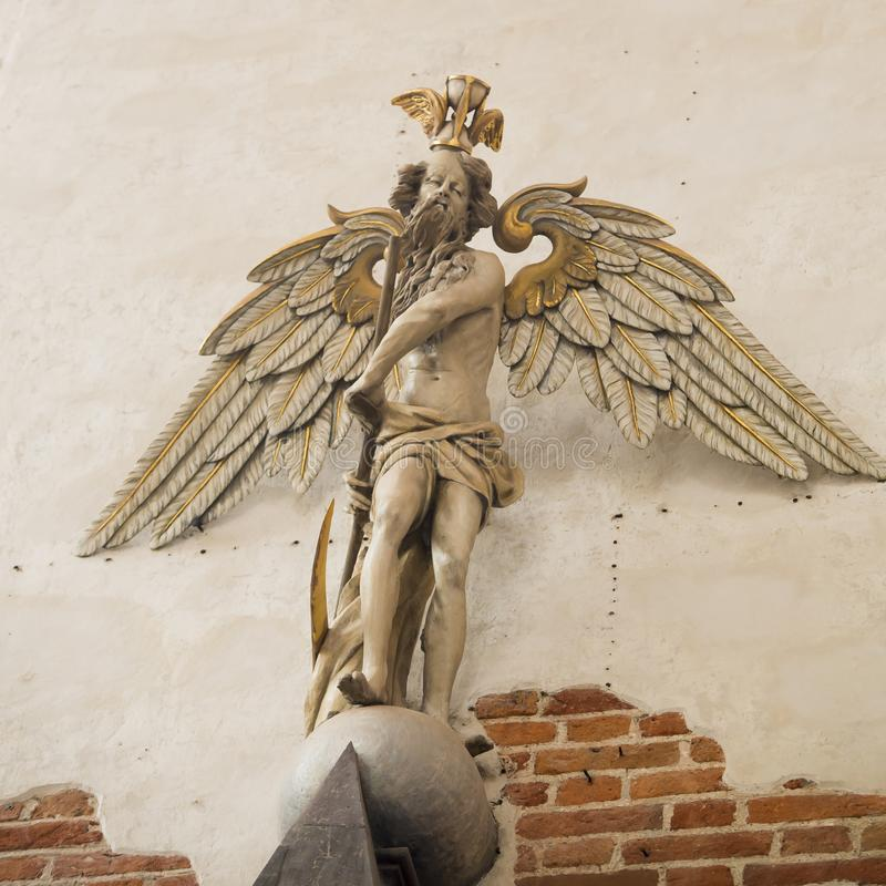 Angel, baroque wooden Angel painted with white and golden color, Gdansk royalty free stock image