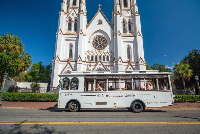 St John Baptist Cathedral i Savannah Georgia arkivfoto