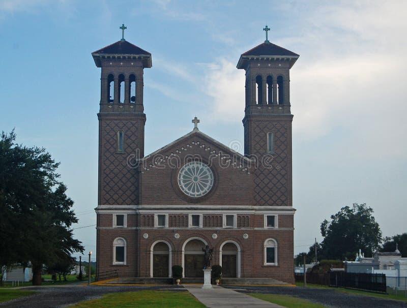 St. John the Baptist Catholic Church, Edgard, Louisiana. Unique architecture with twin towers stock photos