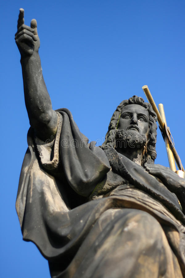 Statue of st. John the Baptist on the Charles Bridge in Prague royalty free stock photography