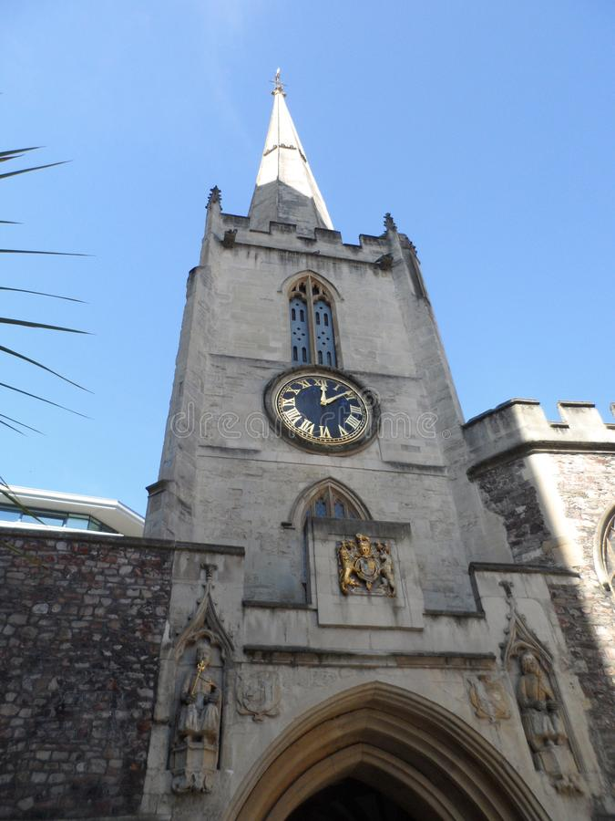 St John the Baptist Medieval Tower and Spire stock photo