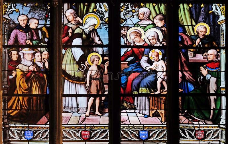 St John Doopsgezind geïntroduceerd door zijn moeder, St Elizabeth, de Zuigeling Jesus en de Heilige Bloedverwantschap royalty-vrije stock foto's