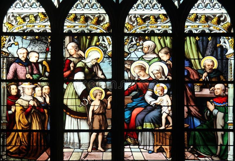 St John Doopsgezind geïntroduceerd door zijn moeder, St Elizabeth, de Zuigeling Jesus en de Heilige Bloedverwantschap royalty-vrije stock foto