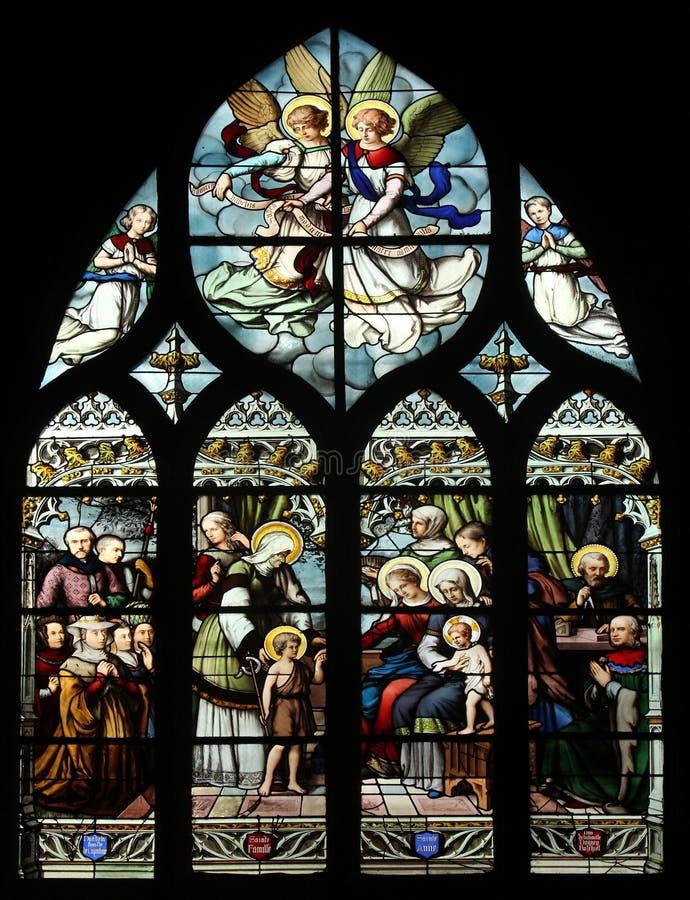 St John Doopsgezind geïntroduceerd door zijn moeder, St Elizabeth, de Zuigeling Jesus en de Heilige Bloedverwantschap Virgin, St  stock afbeelding