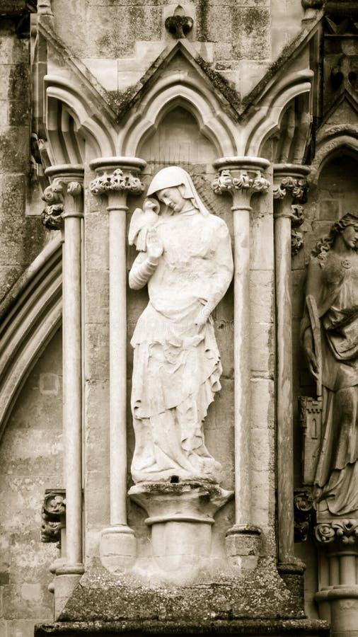 St John het Westen Front Sep van Evangeliststatue salisbury cathedral royalty-vrije stock foto