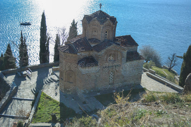 The St. John at Kaneo in Ohrid. Is one of the oldest churches in the city of Ohrid, situated on a cillf at the lake it offers great view and atmosphere royalty free stock photos