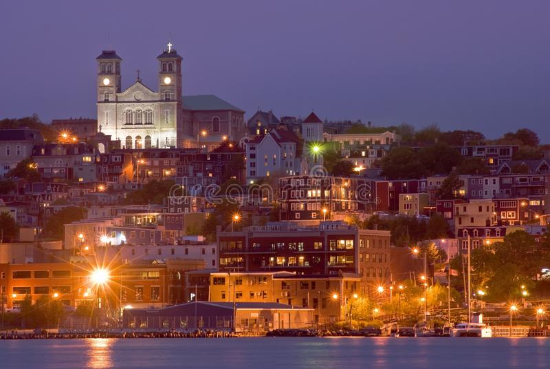 St. John's. Basilica of St-John the Baptist downtown St-John's, Newfoundland at night stock image