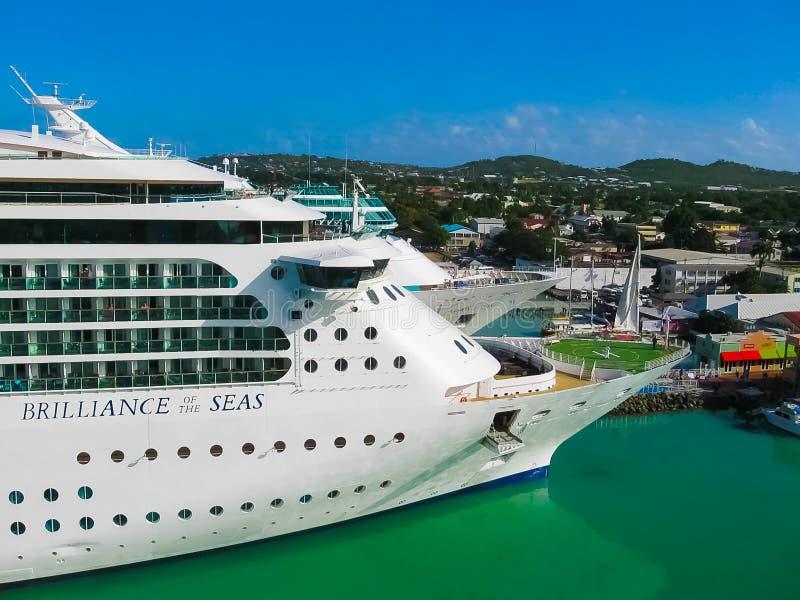St. John`s, Antigua and Barbuda - February 07, 2013: Cruise ship Brilliance of the Seas Royal Caribbean International in. St. John`s, Antigua and Barbuda royalty free stock image