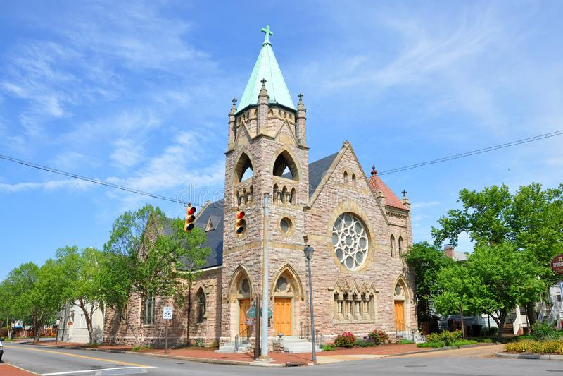 St John ` s Bisschoppelijke Kerk, Portsmouth, VA, de V.S. stock afbeeldingen
