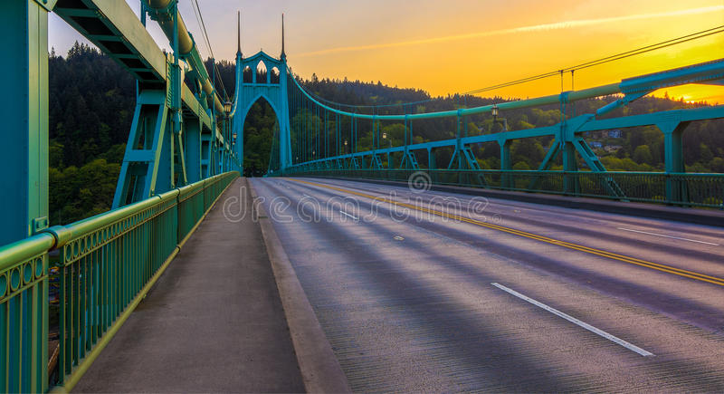 St. John's Bridge in Portland Oregon, USA royalty free stock image