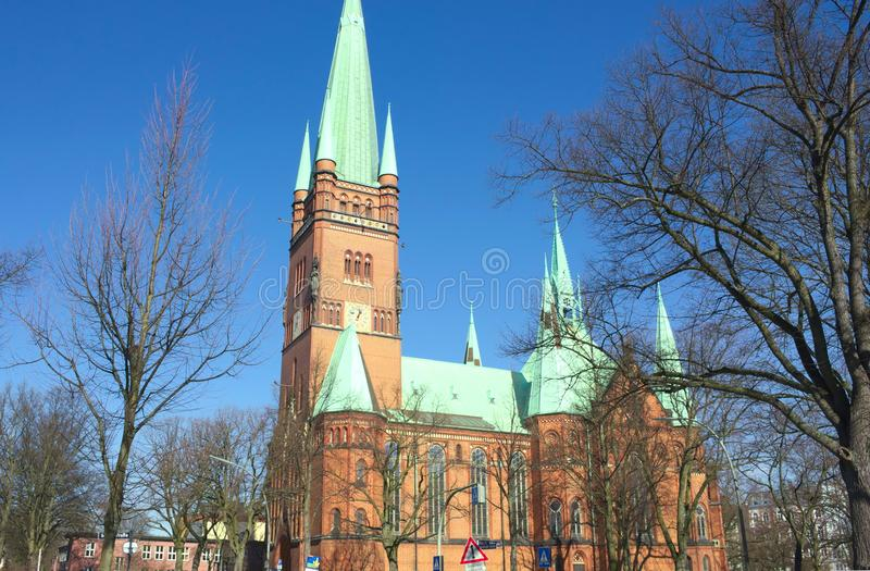 St. John`s Cathedral - X - Hamburg - Germany. A masterpiece of the hanseatic brick gothic- the St. John`s Cathedra in Hamburg - shot in 2014 stock photography