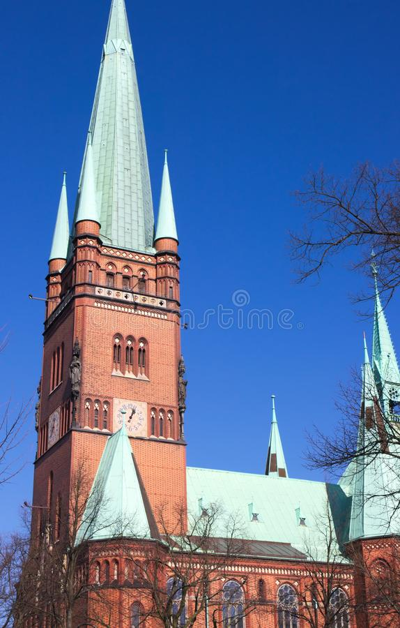 St. John`s Cathedral - X - Hamburg - Germany. A masterpiece of the hanseatic brick gothic- the St. John`s Cathedra in Hamburg - shot in 2014 royalty free stock photos