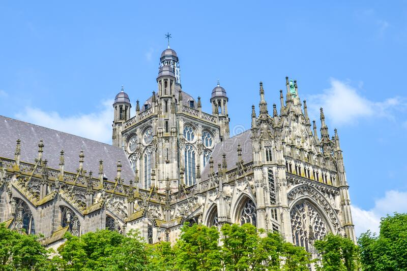 St. John`s Cathedral in Hertogenbosch, North Brabant, Netherlands. Dutch Gothic architecture, the largest catholic church in the. Netherlands. Dominant of the royalty free stock photo