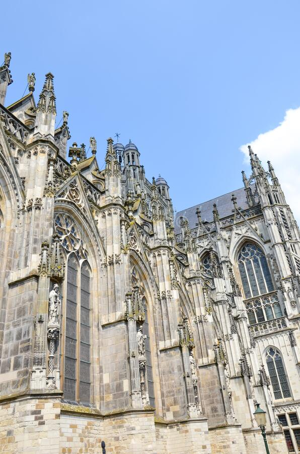 St. John`s Cathedral in Hertogenbosch, North Brabant, Netherlands. Dutch Gothic architecture, the largest catholic church in the. Netherlands. Dominant of the stock images