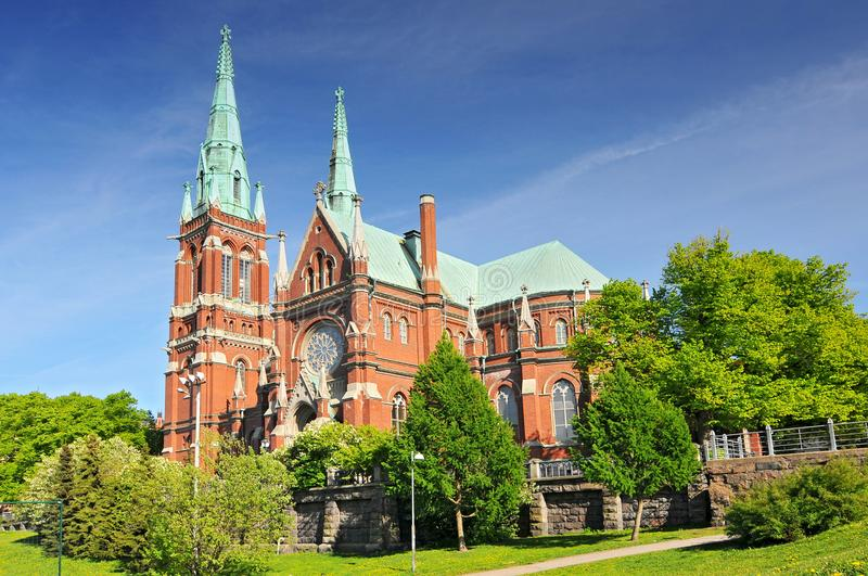 St. John`s Church in Helsinki, Finland is a Lutheran church designed by the Swedish architect Adolf Melander in the Gothic Reviva. L style royalty free stock photo