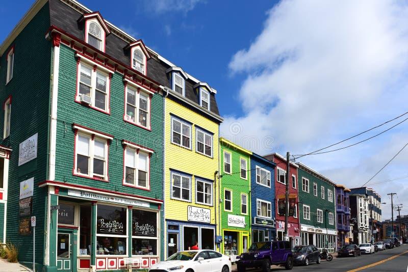 Duckworth Street in St. John`s, Newfoundland stock photo