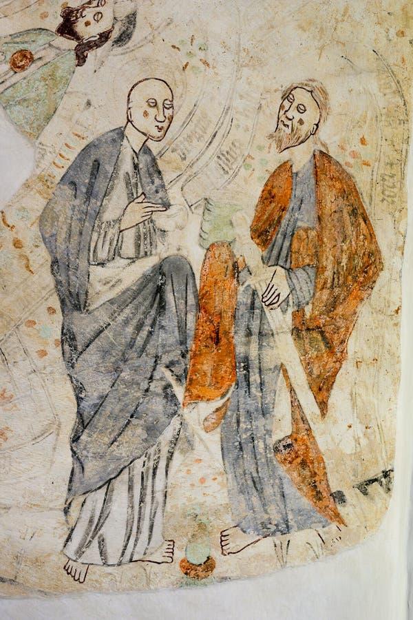 St. John and St. Paul on a fresco stock image