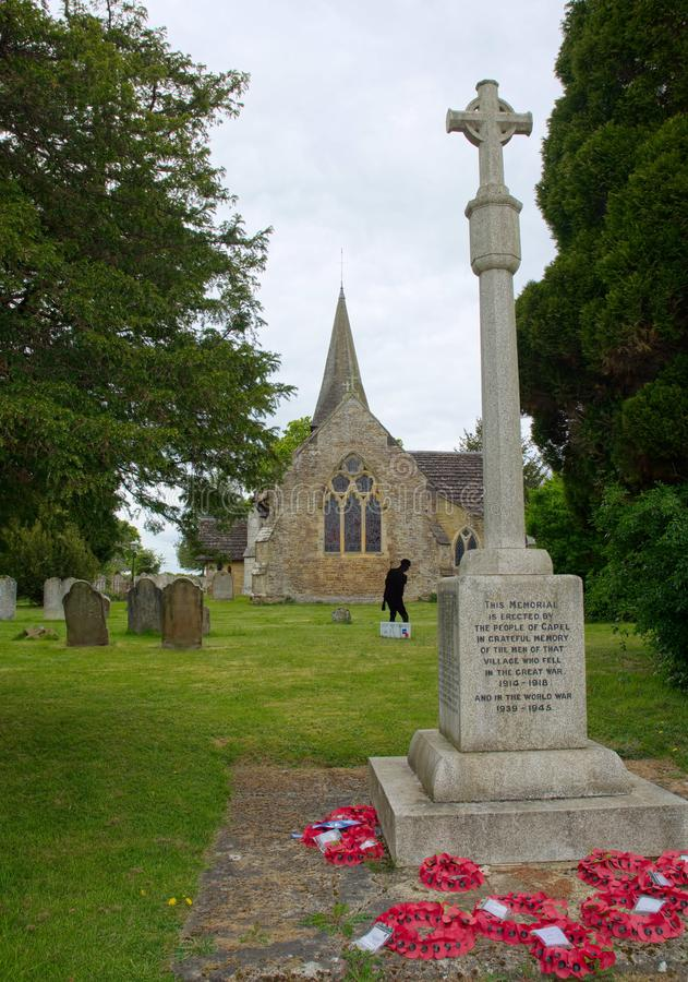 Free St John The Bapist Church War Memorial. Capel, Sussex, UK Stock Images - 150667454