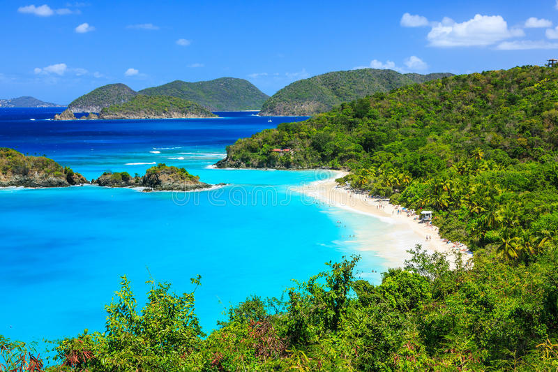 St John, US Virgin Islands. Trunk Bay on St John island, US Virgin Islands stock images