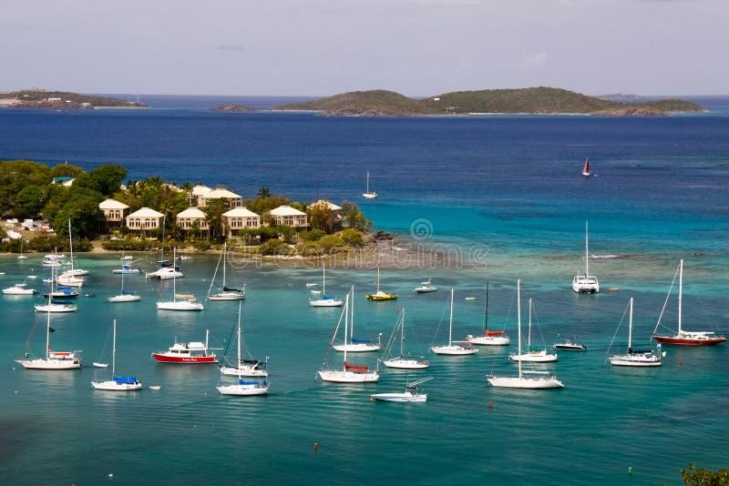 St. John, USVI - Cruz Bay Yachts and Sailboats stock photos