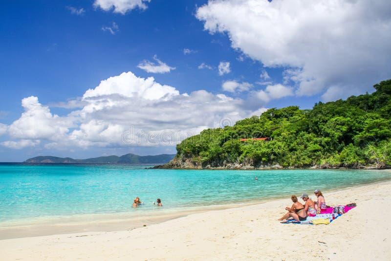 St John, USVI - de Bezoekers van de Boomstambaai zwemmen en zonnebaden stock fotografie