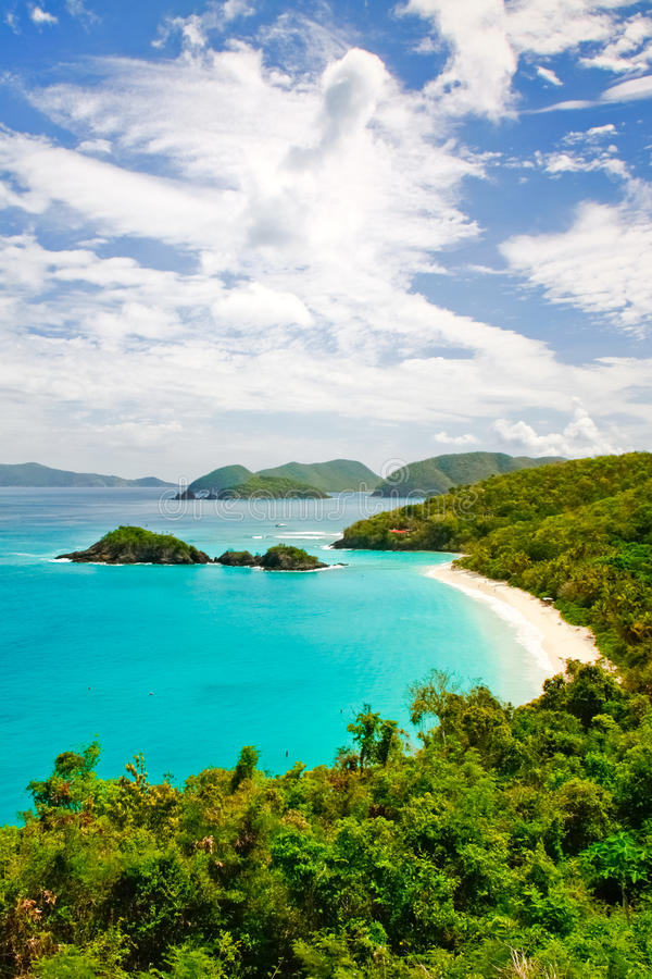 St. John, USVI - Famous Trunk Bay. A gorgeous view from above world famous Trunk Bay on the island of St. John, in the US Virgin Islands. Trunk Bay is often stock image