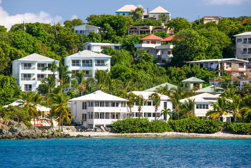 St John, USVI - il lungomare di lusso di Cruz Bay si dirige immagine stock libera da diritti