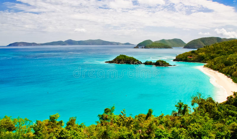 St. John, USVI -Trunk Bay Vista. A gorgeous view from above world famous Trunk Bay on the island of St. John, in the US Virgin Islands. Trunk Bay is often listed royalty free stock photo