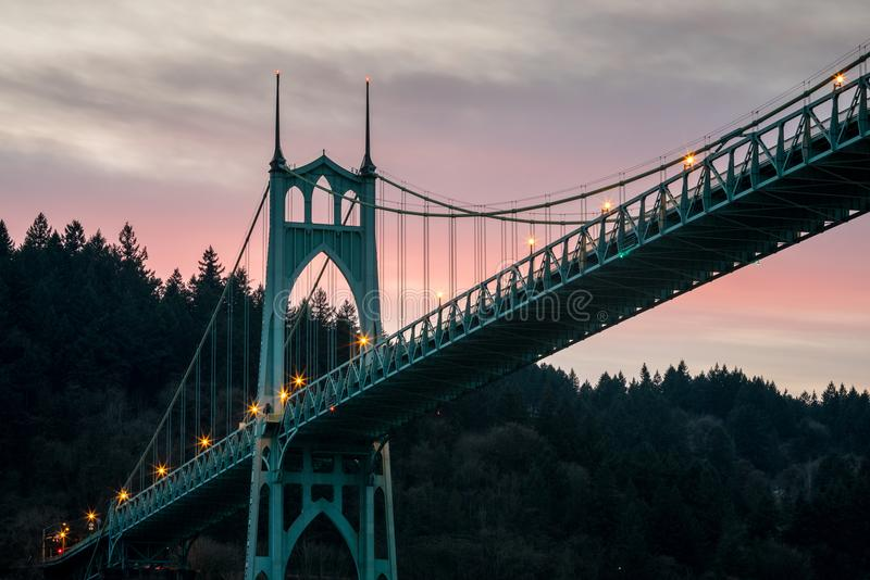 St Johns Bridge Long Exposure Portland Oregon. A long exposure photo of the St Johns Bridge in Portland Oregon at sunset stock photo