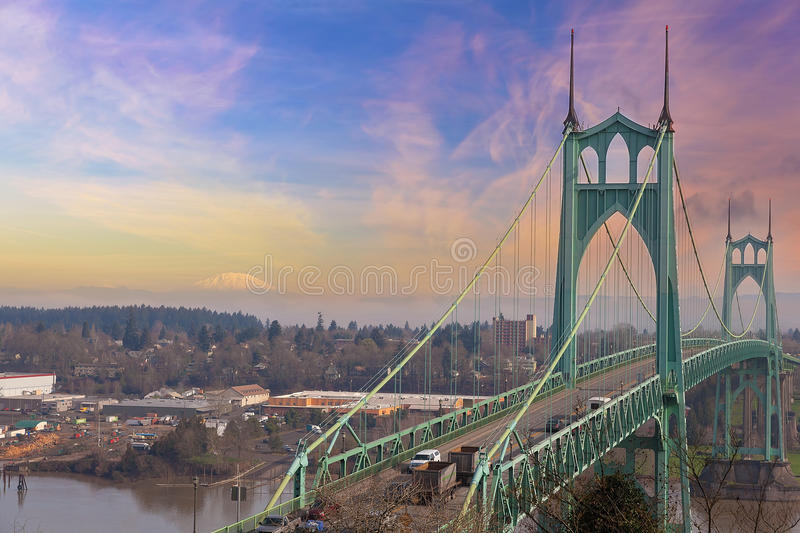 St Johns Bridge and Mt St Helens. St Johns Bridge in Portland Oregon Over Willamette River with Mt St Helens View stock image